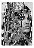 Startonight Leinwand Wand Kunst Schwarz und Weiß Kämpfer, Doppelansicht Überraschung Modernes Dekor Kunstwerk Gerahmte Wand Kunst 100% Ursprüngliche Fertig zum Aufhängen 60 x 90 CM