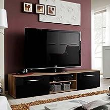 Paris Prix - Meuble TV Design Bono II 180cm Prunier   Noir 5ae56e37118d