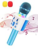 Wireless Bluetooth Microfono Karaoke con Altoparlante Pro per Adulti e Bambini Portatile KTV Karaoke Player Compatibile con Android/PC/Smartphone Regali di compleanno di Mic Home Party (blu)