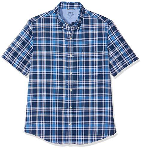 Izod Herren Freizeithemd Dockside Big Plaid SS Shirt Blau (Estate Blue 435) Large (Herstellergröße: LG) - Heritage Rugby Shirt