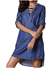 280c118b913 StyleDome Femme Chemise Mini Robe Jean Coton Tunique Longues Large Manches  3 4 Col V