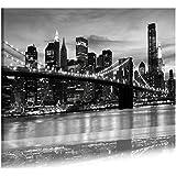 DekoArte Cuadro Moderno en Lienzo con Diseño New York, Noche, Tela, Multicolor, 140 x 3 x 90 cm