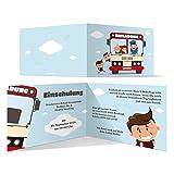 20 x Einschulung Einladungskarten Einschulungskarten Schulanfang Set - Schulbus