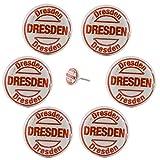 6x_Dresden - Möbelknopf Möbelknauf Griff Keramik Vintage