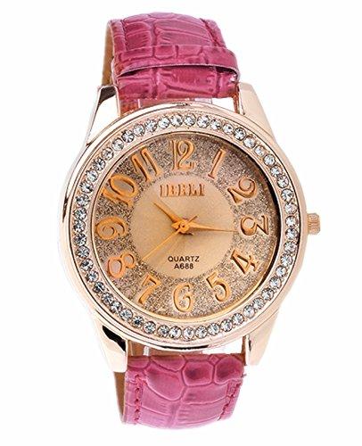 JSDDE Uhren,Luxus Damen Armbanduhr Strass Kristall Damenuhr Kunstleder Roségold Analog Quarzuhren Kleid Uhr,Rosa/Pink