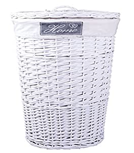oval white wicker laundry basket home lable cotton lining with lid kitchen home. Black Bedroom Furniture Sets. Home Design Ideas