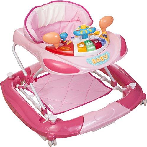 *Bieco Baby Lauflernwagen Rosa/Pink – Kippsicheres Activity Spiel-Center mit Melodien, Hupe und Lenkrad als Walker  höhenverstellbar, als Lauflernhilfe empfohlen, ab 6 Monaten, Artnr 19000816*
