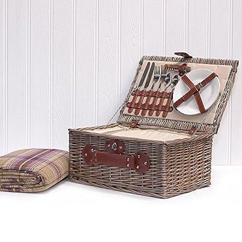 Cream Chiller 2 Personne Picnic Wicker Hamper et Purple Picnic Couverture avec Built In Chiller Compartiment et accessoires pour 2 personnes - Idées Cadeaux pour Anniversaire, Mariage, Anniversaire et Entreprise