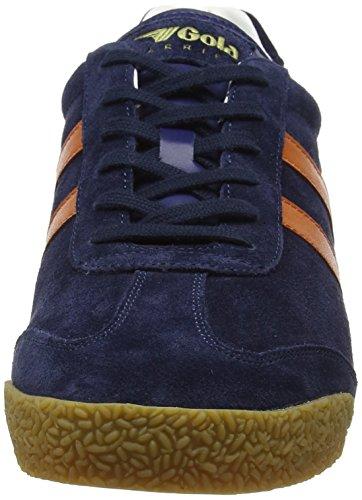 Gola Herren Harrier Suede Sneakers Blau (Navy/orange/off White Hu)