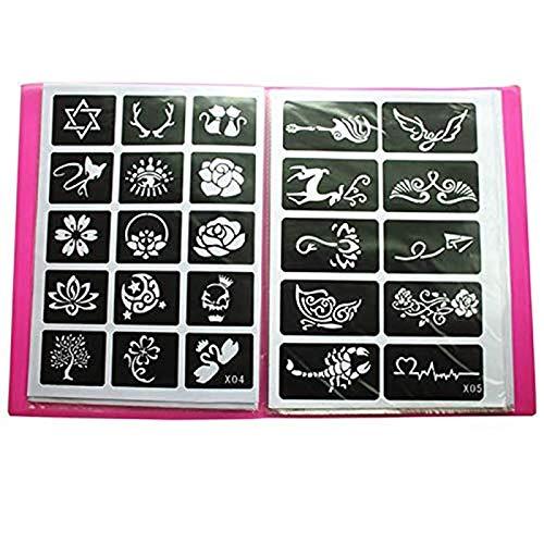 Xmasir 20 Blatt (446 Stück) Airbrush Tattoo Schablonen Album Art Book,kleine Glitzer Tattoo Vorlage für Körperbemalung