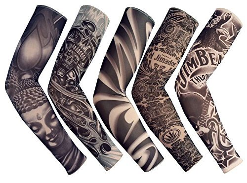 Yoogeer Temporäre Fake Slip On Tattoo Arm Sleeve Bike Basketball Sun Block Sleevelet for Men and Women (Unisex Dark Set, 5 Stück) (Halloween Make-up Dark Cool)