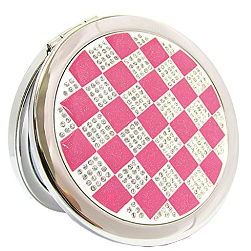 Élégant simple Grille Double Cosmetic Mirror Mirror Maquillage Portable, Rose