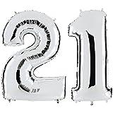 PartyMarty Ballon Zahl 21 in Silber - XXL Riesenzahl 100cm - zum 21. Geburtstag - Party Geschenk Dekoration Folienballon Luftballon Happy Birthday