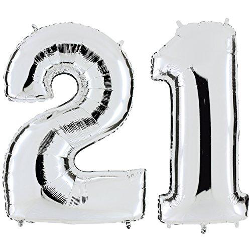 hl 21 in Silber - XXL Riesenzahl 100cm - zum 21. Geburtstag - Party Geschenk Dekoration Folienballon Luftballon Happy Birthday ()
