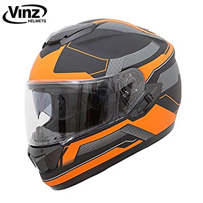 Vinz Motocross Motorbike Scooter Road Helmet Solid Scooter Helmet in Matt Black and Orange in Size S M L XL | Motorbike Helmet with Sun Visor from Vinz