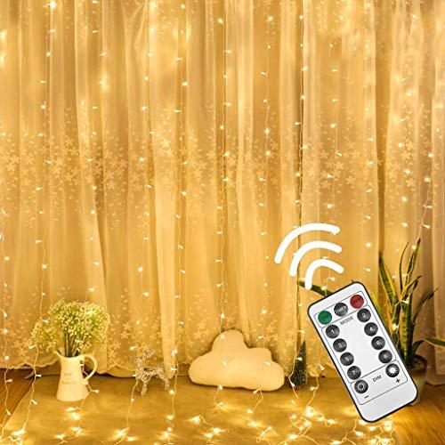Gaddrt Lichterketten für Innenräume Lichtervorhang Licht Vorhang-Streifenlichter, 300 LED 8 Modi Warm White Fairy String Lights Dekoration
