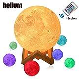 Lune Lampe Veilleuse Touch Control Lampe 15/18cm, cadeau pour enfant Big Lune LED luminosité 3d avec USB de lampes Jaune chaud et froid Blanc/16couleurs Hellum, 16rgb, 15 cm