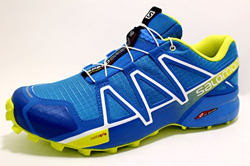 Salomon Speedcross 4 Herren Trailrunning-Schuhe, Hawaiian Surf/Acid Lime/Whit,40 2/3 EU