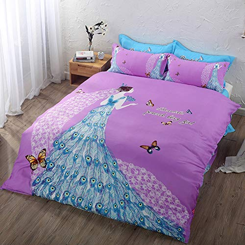 YJJSL Baumwolle-Bettwäsche-Set, Student Schlafzimmer Nordic einfache Bettbezug-Set, Traum Fairy Tale Bettbezug Set-Abnehmbare 3/4 Pices (Farbe : B) -