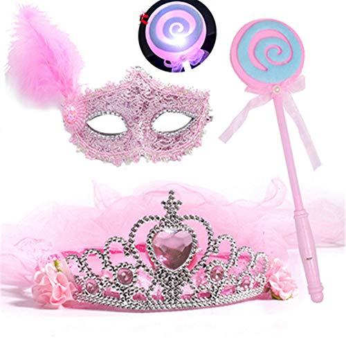 ZjkMr Halloween Kindermaske Frauen Prom Princess Girl Crown Veil Festliche Party Dress Up Makeup Maske Halbes Gesicht + Glow Veil + Glowing Lollipop + Princess Mask (3 Farben