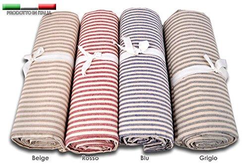 Centesimo web shop telo arredo copritutto 2 misure prodotto in italia gran foulard multiuso telo tuttofare copridivano - fantasia classica righe rigato fine - 260x280 cm beige