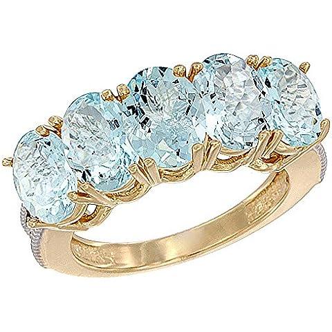 14ct oro amarillo Natural aguamarina 0,71 ct. 7 x 5 mm Oval 5-piedra anillo de madre con detalles en diamante, Tamaños J a T con medias