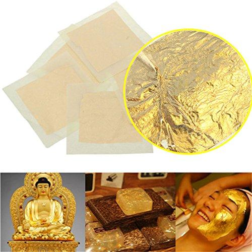 Preisvergleich Produktbild Saver 5pcs 24K Genuine reines Gold Folie Blatt Vergoldung Bettwäsche Set Decor Crafts Mask Paste 4x4cm