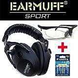 EARMUFF Schützen Sport-/Jagd Gehörschutz 24dB elektronischer Aktiv Gehörschutz Kopfhörer + VARTA Batterien (Schwarz + Schießbrille)