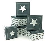 Fashion&Joy Geschenkboxen Set 6-teilig Sterne weiß grau HxB 12x21 cm Aufbewahrungsboxen Geschenkkarton Stern Typ492