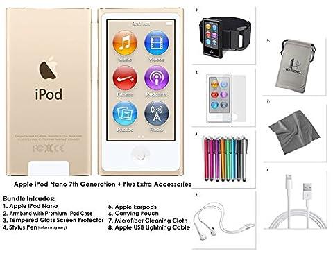 New Apple iPod Nano 7G, 16GB + Extra Zubehör * NEUES Modell veröffentlicht Juli 2015 * (Gold)