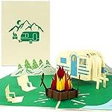PaperCrush Pop-Up Karte Camping mit Wohnwagen [NEU!] - 3D Geburtstagskarte für Camper, Lustiges Camping-Geschenk für Frauen und Männer - Handgemachte Geschenkkarte inkl. Umschlag