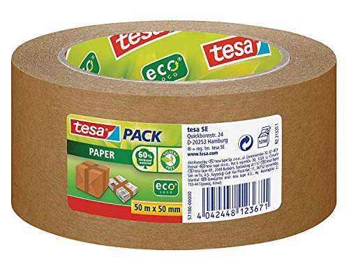 tesapack Paper ecoLogo - Umweltgerechtes Paketband aus Papier, 60 % biobasiertes Material - Braun - 50 m x 50 mm