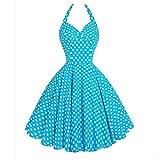 Damen Kleider Vintage ärmellose Halter Abend Party Prom Swing Minikleid von SANFASHION