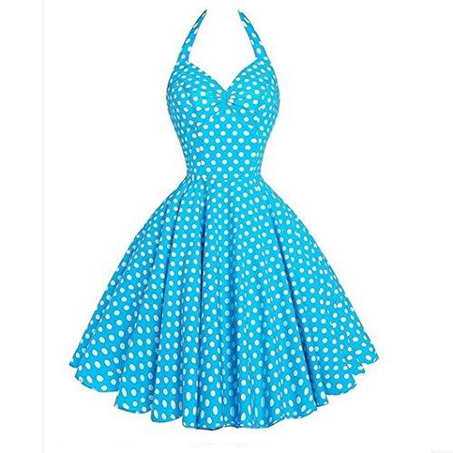 Damen Kleider Vintage ärmellose Halter Abend Party Prom Swing Minikleid von SANFASHION (Arten Süßigkeiten-namen Von)
