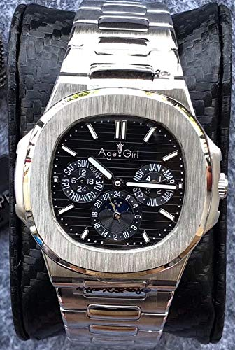 ZCCZJBXS Luxury Automatic Mechanical Men Watch Sapphire Silver Transparent Moon Phase Watches Black Blue Grey White Coffee AAA+ Black Blue Moon Coffee