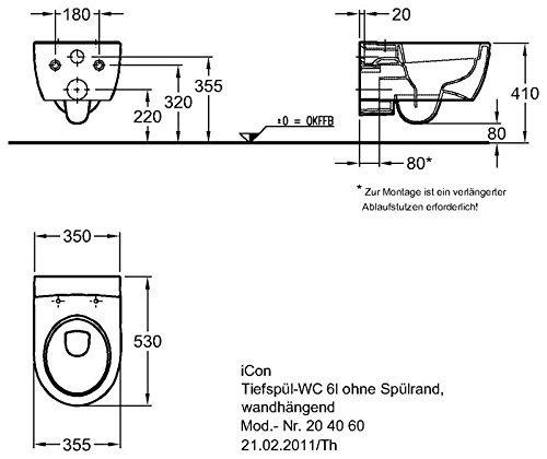 Keramag iCon Wand-WC spülrandlos, weiß, LotusClean Beschichtung, kpl. Set - 2