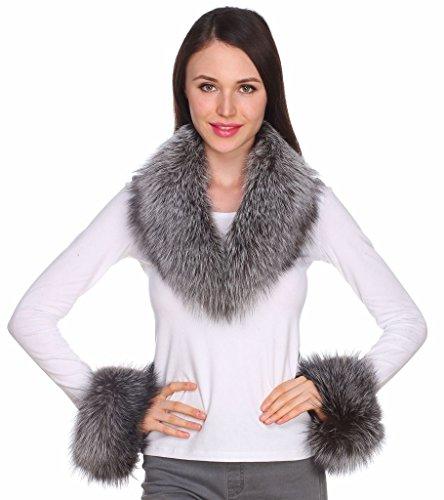 Ferand collo di pelliccia di volpe autentica per donna con polsini coordinati colori naturali per gilet parka giacche e cappotti argento