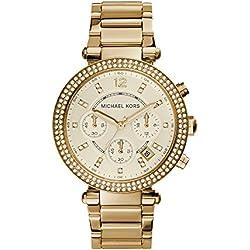 Michael Kors MK5354 - Reloj de cuarzo con correa de acero inoxidable para mujer, color dorado