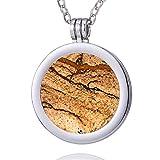 Morella Damen Halskette 70 cm Edelstahl und Anhänger mit Edelstein Bilderjaspis Coin 33 mm Chakren Scheibe in Schmuckbeutel