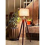 """Nautical Home Decorâ""""¢ Natural Teak Wooden Crafter Standard Size Tripod Floor Lamp With Jute Shade Home Decors Gift, Brown, P"""
