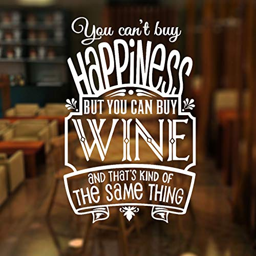 You Can't Buy Happiness But You Can Buy Wine Quote Wall Sticker Vinyl Pub Shop Window Decoration Decals Removable Mural  57x89cm