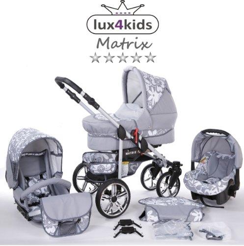 Chilly Kids Matrix II Kinderwagen Komplettset (Autositz & Adapter, Regenschutz, Moskitonetz, Schwenkräder) 64 Graphit & Graphit Blumen -