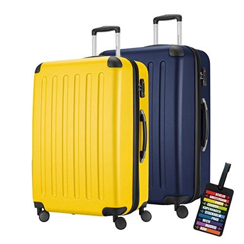 Hauptstadtkoffer · Set di due valigie · 128+128 litri · Chiusura TSA · Seria SPREE · (Colore Giallo/Blu Scuro · Con 1 Ciondolo per la valigia)