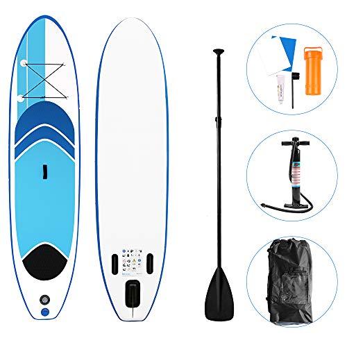 Froadp Surfboards Set SUP Boards Aufblasbare Boards für Stand-Up Paddling Paddelbrett inkl. Paddel Sicherungsleine und Action Pump 305cm Belastbarkeit 120KG(Blau)