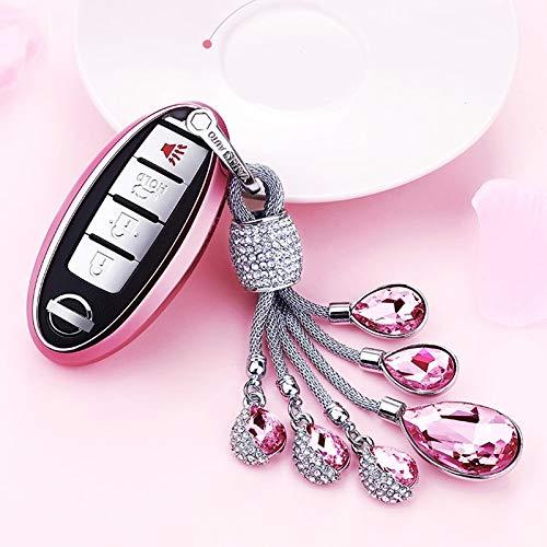 ZYYSK Für 2019 Weiche TPU Autoschlüssel Fall Autoschlüssel Schutzhülle Für Nissan Infiniti Qx50 Q50L Tränen des Himmels Künstliche Kristall Anhänger,A-Pink-Keyring (Infiniti Keyring)