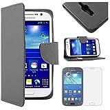 ebestStar - Etui Samsung Galaxy Grand Plus GT-i9060I, Grand Lite - Housse Coque Etui Portefeuille Support PU Cuir + Film protection écran en VERRE Trempé, Couleur Noir [Dimensions PRECISES de votre appareil : 143 x 77.1 x 9.6 mm, écran 5'']