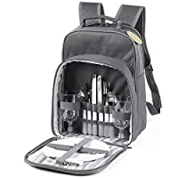 GEEZY 2 Person Insulated Picnic Backpack Wine Cooler Bag Cool Drinks Carrier