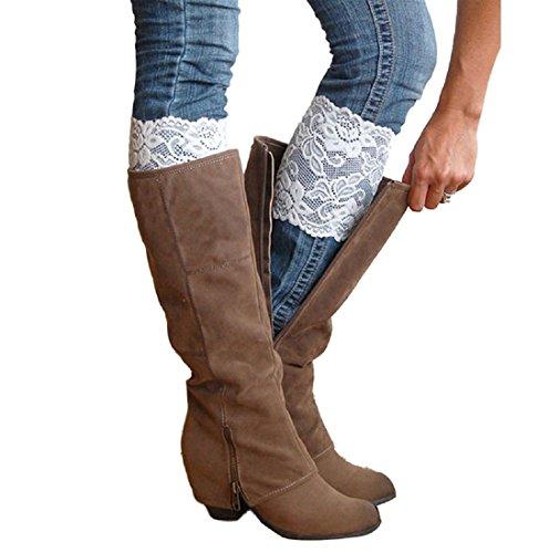 2 Paar Weiße Stretch Spitze Blumen Stiefel Stulpen Beinwärmer Socken Topper Stulpe für Frauen (Sock Zwei-paar-pack)