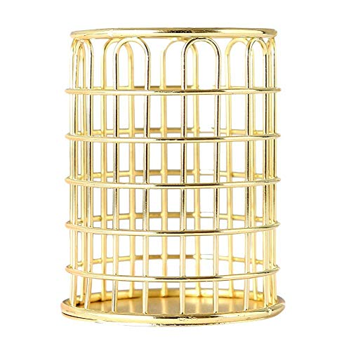H.Yue Hollow Makeup Brush Vase Pot Pen Holder Stationery Nordic Style Simple Storage Organizer Container (Golden- Round) Pot Metal Plating