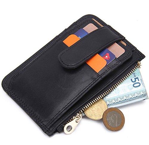 YaJaMa Echtleder Geldbörsen Geldbeutel Kreditkartenetui Kartenmappe Ausweisetui Münzbörse mit Geschenkbox für Damen und Herren (Clip Case Card Id-money)